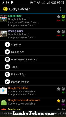 Tampilan Aplikasi Lucky Patcher