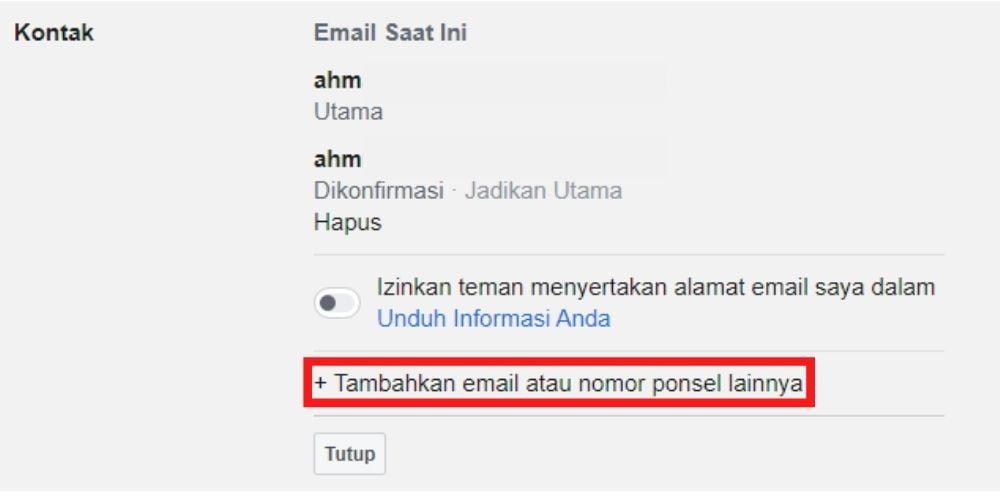 Tambah Email Facebook